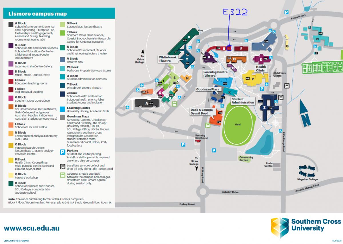 Room E322 – Southern Cross University – Lismore Campus – Reggio Scu Map on